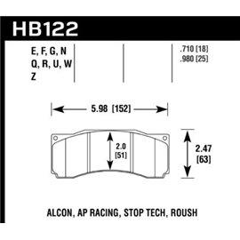 HAWK HB122G.710 brake pad set - DTC-60 type (18 mm)