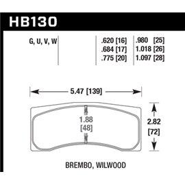 HAWK HB130U1.097 brake pad set - DTC-70 type (28 mm)