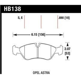HAWK HB138S.690 brake pad set - HT-10 type (18 mm)