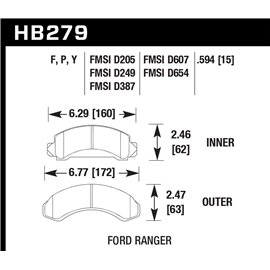 HAWK HB279Y.594 brake pad set - LTS type