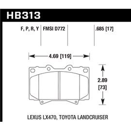 HAWK HB313Y.685 brake pad set - LTS type