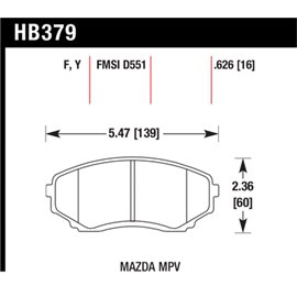 HAWK HB379Y.626 brake pad set - LTS type