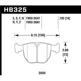 HAWK HB325Y.720 brake pad set - LTS type