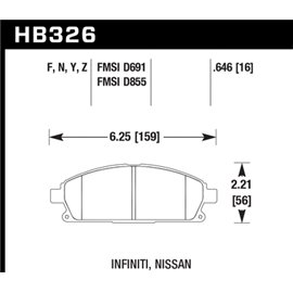 HAWK HB326Y.646 brake pad set - LTS type