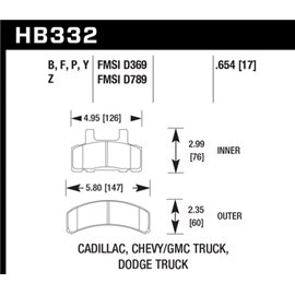 HAWK HB332Y.654 brake pad set - LTS type