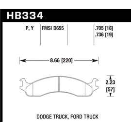 HAWK HB334Y.736 brake pad set - LTS type