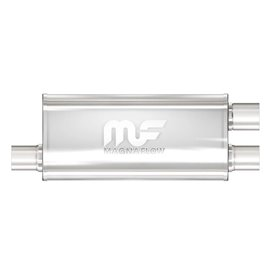 """MagnaFlow 5"""" X 8"""" Oval Offset/Dual (Transverse) Straight Through Performance Muffler IN 2,5"""" OUT 2,5"""""""