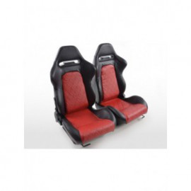 Sportseat Set Detroit artificial leather  black/Red /