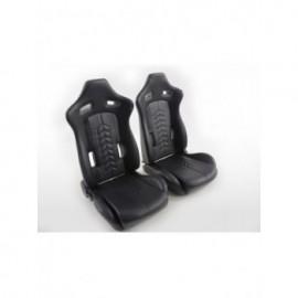 Sport Seat Set half bucket seat synthetic Leather black seam black