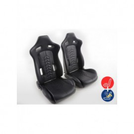 FK sport seats half bucket seats Set artificial leather black with heating and massage