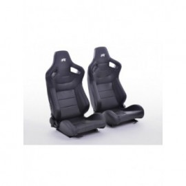 sport seat  artificial leather black with red stitching