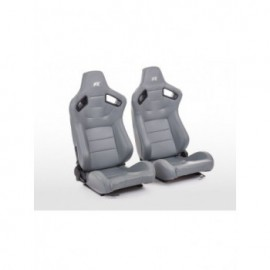 FK sport seats half bucket seats Set Bremen artificial leather grey red stitches