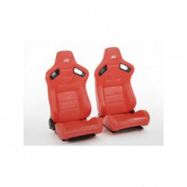 FK sport seats half bucket seats Set Bremen artificial leather red red stitches