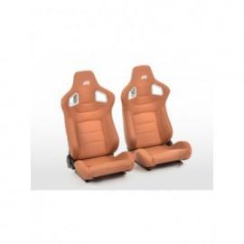 FK sport seats half bucket seats Set Stuttgart artificial leather brown