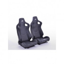 FK sport seats half bucket seats Set Stuttgart artificial leather black Carbon-Look