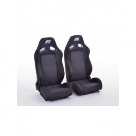 FK sport seats half bucket seats Set Leipzig artificial leather black