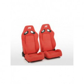 FK sport seats half bucket seats Set Leipzig artificial leather red