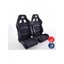 FK sport seats half bucket seats Set Cyberstar textile black with heating and massage