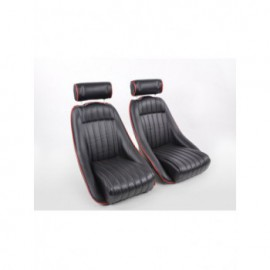Sportseat Set Classic 2 artificial leather black with headrest