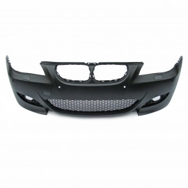 Front bumper BMW E60 Facelift By. 03.2007-03.2010, with cuttings for headlight cleaning system and PDC, sport look
