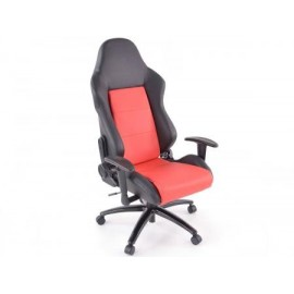 Office Chair Sport Seat with armrest synthetic leather grey/black