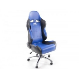 Office chair seat sports,  leather black / blue