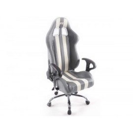 Office Chair Sport Seat without armrest synthetic leather grey/white