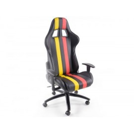 Office Chair Sport Seat with armrest synthetic leather black/red/yellow