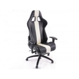 Office Chair Sport Seat with armrest synthetic leather black/white