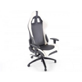 Office Chair Sport Seat with armrest synthetic leather white/black