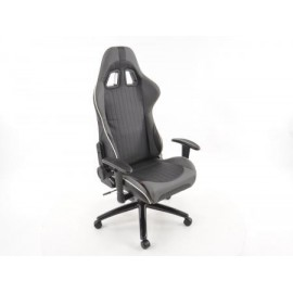 Office Chair Sport Seat with armrest synthetic leather grey/white