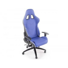 Office Chair Sport Seat with armrest synthetic leather blue