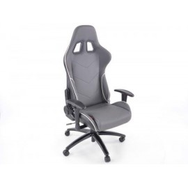 Office Chair Sport Seat with armrest synthetic leather grey