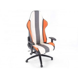 Office Chair Sport Seat with armrest synthetic leather orange/white/grey