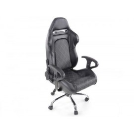 Office Chair Sport Seat with armrest fabric black/white