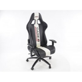 Office Chair Sport Seat with armrests synthetic leather black/white