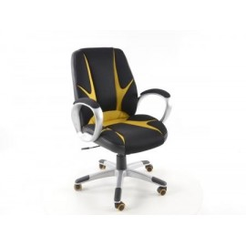 Office Chair artificial leather Net black/orange with armrests