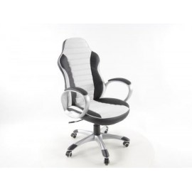 Office Chair artificial leather black/white with armrests