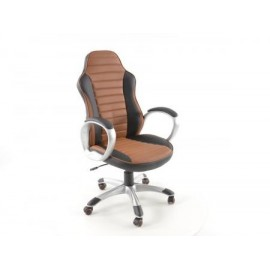 Office Chair artificial leather black/brown with armrests