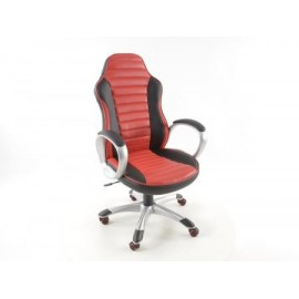 Office Chair artificial leather black/red with armrests