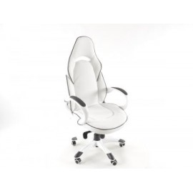 Office Chair artificial leather white/black with armrests