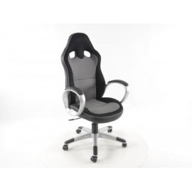 Office Chair artificial leather Net grey/black with armrests