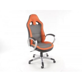 Office Chair artificial leather Net grey/orange with armrests