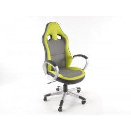 Office Chair artificial leather Net grey/green with armrests