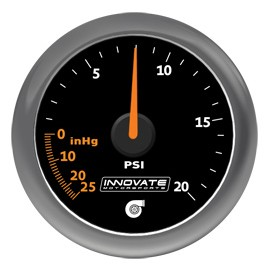 Innovate Analog MTX-A 20 PSI Vacuum/Boost Gauge Kit,Black Di
